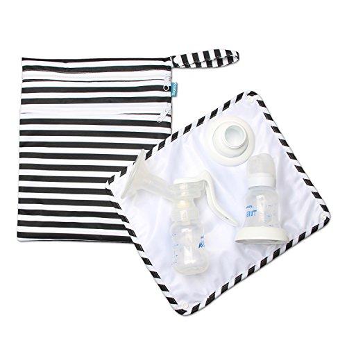 Damero Teamoy ウェットバッグ 防水バッグ パット付き さく乳器 母乳パック 母乳ボトル 保管 移動 便利 黒ストラップ
