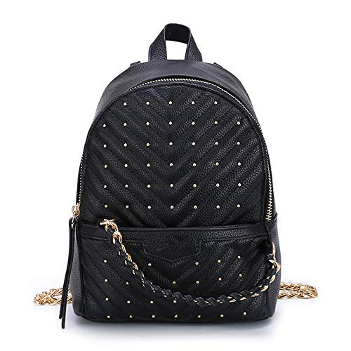 YLLHK Girls Mini PU Leather Backpack, Womens Lightweight Soft Shoulder bag, Ladies Anti-theft Casual Travel Rucksack, Large Capacity, Red and White, 18 * 25 * 9CM,Black
