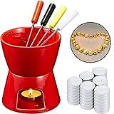 Fondue Pot Mug Mini Chocolate Pot for Valentine's Day, 50 Pieces Votive Candles and 4 Pieces Color...