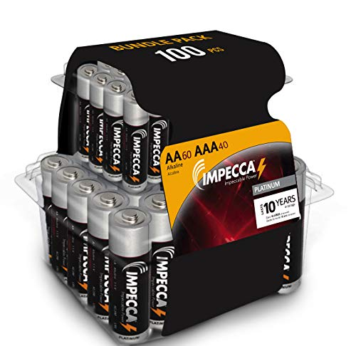 IMPECCA AA and AAA Batteries Combo Pack (100 Pack) High-Performance Alkaline Battery, AA 60 Count AAA 40 Count, Leak-Resistant, and Long-Lasting Technology