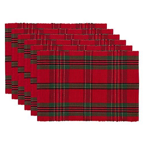 DII Holiday Plaid 100% Cotton Ribbed Placemats for Holiday, Family Fatherings, & Christmas - 13x 19', Set of 6