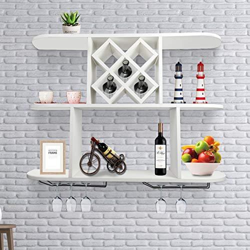 Supporto da parete per vino, portabottiglie in vetro di champagne, mensole galleggianti, accessori da bar