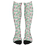 2021 Fashion Thigh High Socks Cotton Over the Knee Socks,Roses with Thorns Rosebuds Cactus Wild Plants Art on Plain Background,Long Knee High Socks for man and woman 60cm