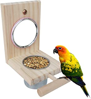Bird Feeder Parrot Perches Toys Mirror Stand Stainless Steel Food Bowl Cup Cage Accessories Fun Play for Canaries,Parakeet...