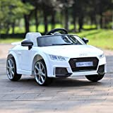 JAXPETY Audi TT 12V Electric Kids Ride On Car Licensed MP3 LED Lights RC Remote Control (White)