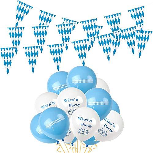 10m Oktoberfest Banner and 50 Luftballons, Wimpel Girlande Bayern Flagge, Oktoberfest Bayrisch Wiesen Party Deko Dekoration