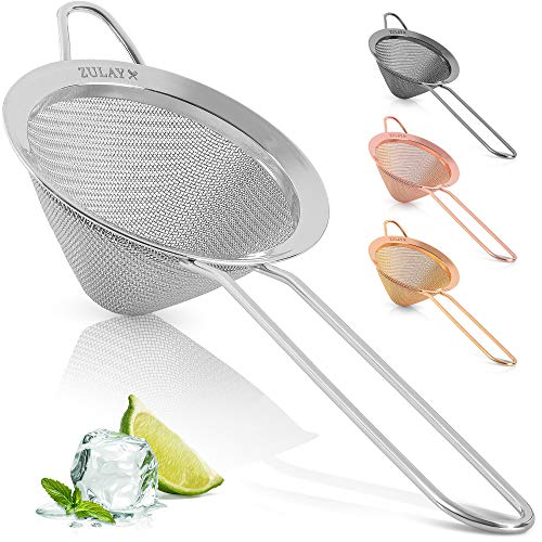 Zulay Stainless Steel Small Strainer  Effective Cone Shaped Cocktail Strainer For Cocktails Tea Herbs Coffee amp Drinks  Fine Mesh Strainer That Is Rust Proof amp Great As A Tea Strainer Silver