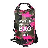 Sacca Impermeabili Borsa Waterproof Borse Impermeabili Dry Bag con Tracolla Regolabile, Una Spalla o Alle Spalle, per Attività all'Aperto e Sport d'Acqua (rosa, 15L)