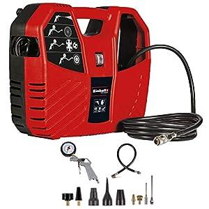 Einhell TC-AC 180/8 OF, Compresor de maletín (1100 W, 180 L/min, 8 bar, incl tubo de aire comprimido de 3 m, pistola de soplado, inflador de neumáticos y un juego de 8 piezas de adaptadores)
