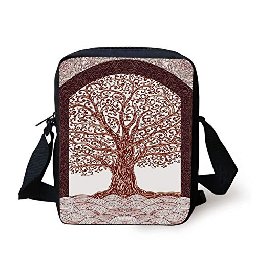 Nature Kids Crossbody Messenger Bag Purse,Hand Drawn Tree Branch Roots with Modern Wavy Lines and Mandala Background Artwork,Cross Body Bags boys Girls 3D Printed Shoulder Bag,Maroon Brown