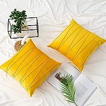 UPOPO Cojines Raya Sofa Terciopelo Funda Decorativos Cojin Salon Cama para Super Dormitorio 2 Piezas de Color Sólido De Cojín Suave Almohada Sala De Estar con Cremalleras 50 X 50 cm Limon Amarillo