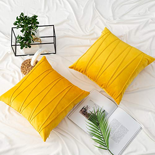 UPOPO Juego de 2 fundas de cojín de terciopelo, decorativas, de un solo color, a rayas, para dormitorio, salón, con cremalleras, 50 x 50 cm, color amarillo limón