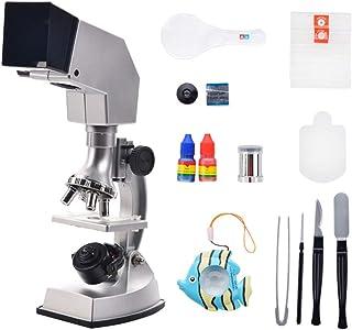 Huangjiahao Microscope pour Enfants Microscope étudiant National Geographic LED - Lentille Optique en Verre du kit 10X-25X...