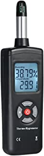 Katerk Termo-higrómetro Termómetro LCD digital Higrómetro Medidor de temperatura y humedad con sensor externo Psicrómetro ...
