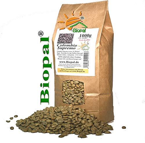 1 kg de café brut Colombia Supremo - Arabica - Grains de café vert - Granulés de café crus - Colombia Supremo - 1000 g - Les grains doivent encore être torréfiés par vos soins ! Biopal®