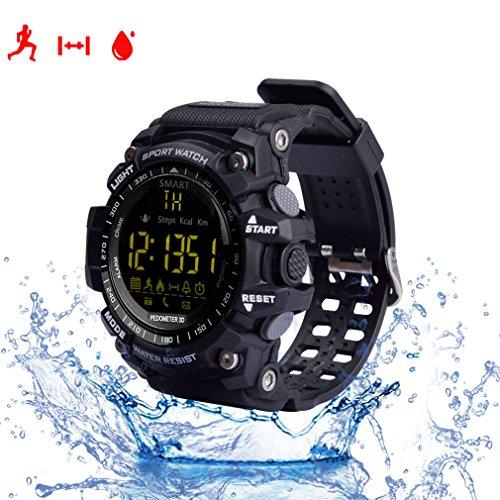 Reloj inteligente, con monitor cardiaco, resistente al agua IP67, Bluetooh, EX16, compatible con Android e IOS, color negro