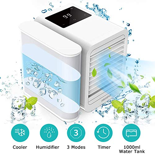 Arnagar Portable Air Conditioner Fan, Small Desktop Air Cooler Personal Space Evaporative Cooler with Touch Panel, 1000ML Water Tank, Timer, 3 Modes Quiet Air Purifier Humidifier Misting Fan (White)