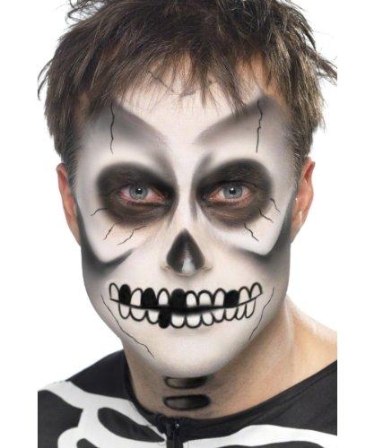 Smiffy's Smiffys Kit da scheletro trucco per il viso, matita nera e spugna per Adulti, Nero & bianco, 39093