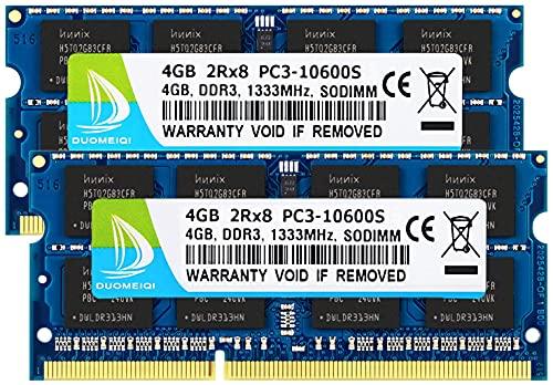 DUOMEIQI Kit de 8GB (2 X 4GB) 2RX8 PC3-10600S DDR3 1333MHz SO-DIMM CL9 204 Pin 1.5v Notebook Non-ECC Módulo de Memoria RAM para Laptop sin búfer