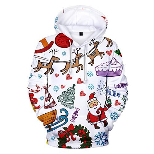 ZODOF Sudadera con Capucha Navidad Mujer Mangas largas Cuello Redondo Moda Impresión navideña Encapuchado Gorra Sudadera Tops Sudadera Navidad Unisex Hooded Cap Sweatershirt