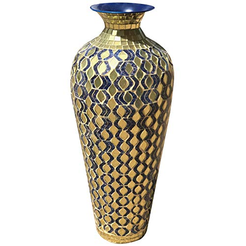 DecorShore Bella Palacio Collection Decorative Mosaic Vase - Tall 20 in. x 6 in. Home Decor Geometric Pattern Metal Floor Vase with Glass Mosaic in Elegant Navy Blue & Gold Tessellation Pattern