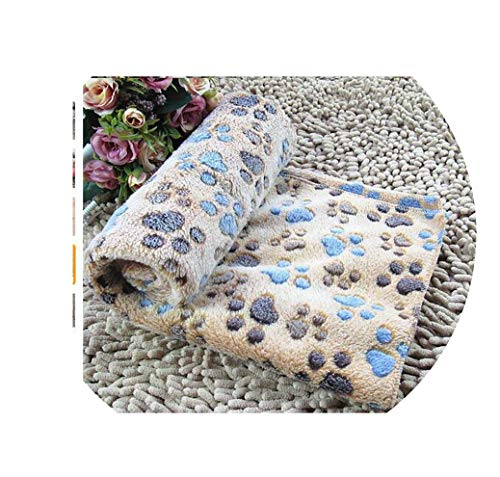 NEVERLAND003 Cute Dog Bed Mats Soft Flannel Fleece Paw Foot Print Warm Pet Blanket Sleeping Beds Cover Mat for Small Medium Dogs Cats,Coffee,76X52Cm
