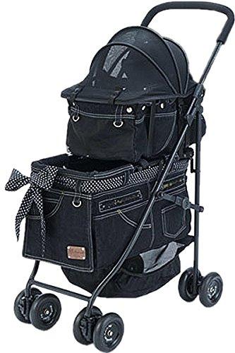 [マザーカート] Mother Cart アジリティー NEWブラックデニム(ゴールドステッチ) 上下2段 ペットカート ペットキャリー 多頭飼い 旅行 介護 お出かけ 最軽量