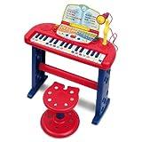 Organo parlante elettronico a 32 tasti con microfono, gambe e sgabello La voce guida il bambino nei 7 Giochi interattivi per muovere i primi passi nella musica in modo naturale Funzione di record & play con cui è possibile registrare e riascoltare le...