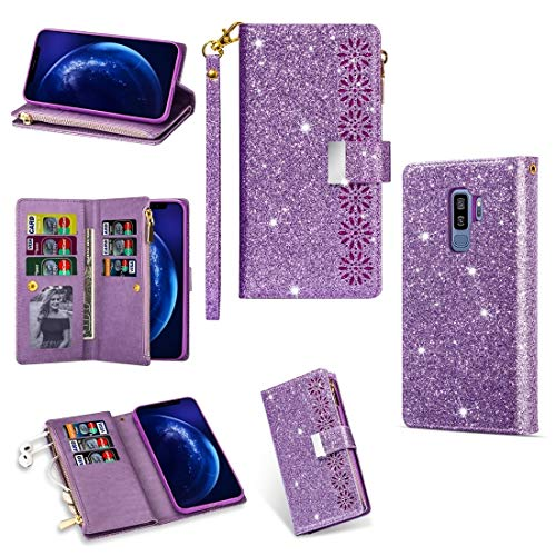 PHONETABLETCASE+ / for SAMSUNG Galaxy S10 Multi-card Slots Starry Sky Laser Carving Glitter Zipper Horizontal Flip Leather Case with Holder & Wallet & Lanyard , Shockproof and scratch-proof cover prot