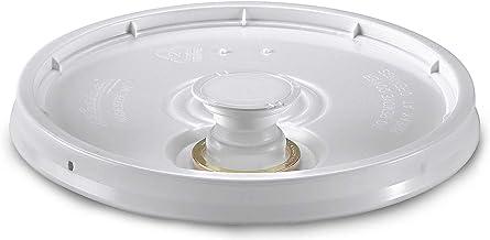 3.5, 5, 6, 7 Gallon White Plastic Snap-on Pail Lid w/Pour Spout ~ (1 Lid) ~ HDPE (High Density Polyethylene) Bucket Top