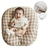 ROTOTO bebe Baby Lounger Pillow Newborn Nest (with Removable Cover for Infant) (Beige Pink Check)