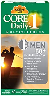 Country Life Men's 50+ Core Daily-1-60 Tablets - Multi - Over 30 Raw Whole Foods - Coenzymated B Vitamins for Energy