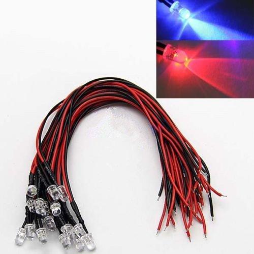 20 stuks 5 mm rood blauw knipperende kleuren - LED met kabel 12 V voor motor auto boot