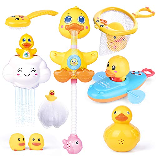 FunLittleToy 9 PCs Baby Bath Toys, Duck Spray Water Toy, Bath Squirters, Bath Boat, Fishing Net, Bathtub Toys for Kids, Best Gifts for Kids