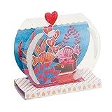 Draeger Paris - Tarjeta Pop Up, Tarjeta de felicitación 3D con su sobre - 'Love' acuario Rojo Peces - formato 18 x 11,5 cm
