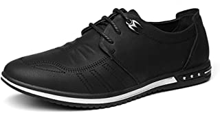 Shhdd Simple and classic men casual shoes lace-up rhythm toe microfiber leather breathable anti-slip weakening napus Oxford shoes for flat Shiny style (Color : Black, Size : 40 EU)
