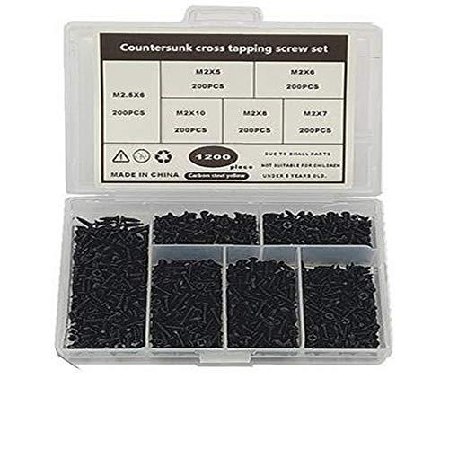 TAIANJI Juego de 1200 tornillos pequeños para madera de cabeza plana tornillos de acero surtido 5 mm, 6 mm, 7 mm, 8 mm, 10 mm, negro pequeño tornillos de madera con caja organizada
