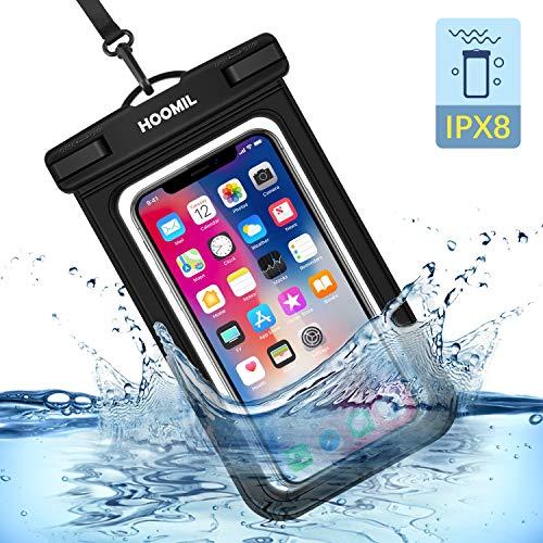 HOOMIL Wasserdichte Handyhülle, IPX8 Wasserdichte Handytasche, Universal Handy Wasserschutzhülle für iPhone 11/XR/XS Max/8/Samsung Galaxy S10/A50/A20E/Huawei P30/P20 Lite/Mate 20 Pro & mehr, Schwarz