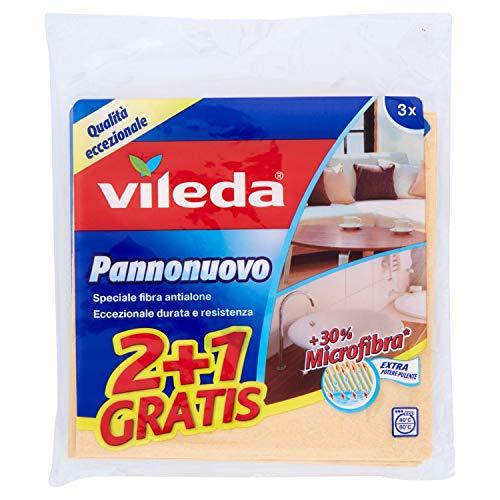 Vileda Pannonuovo Set 3 Panni, 50% Viscosa, 35% Microfibra, 15% Cotone, Beige, 1.8x19x20 cm