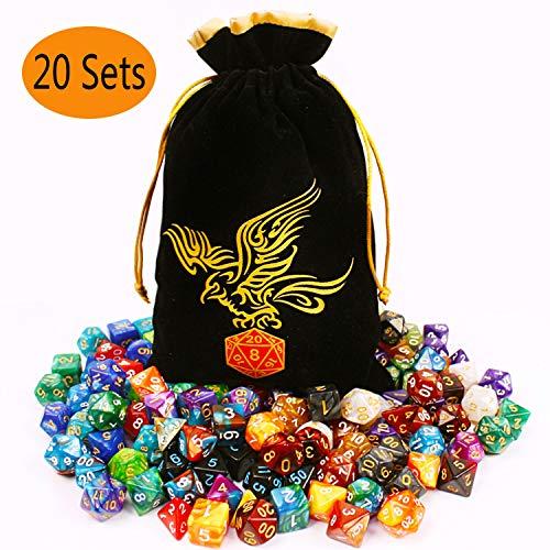 QMAY DND Würfel Set, 140PCS Vieleck Spiel Würfel, 20 Farben Doppel-Farben DND Würfel Rollenspiele Würfel für DND RPG MTG Tischspiele Würfel D4 D8 D10 D12 D20