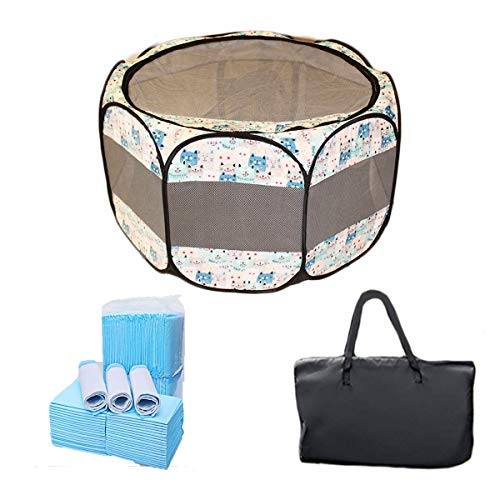 """The Pet Kastle Portable Foldable Pet Playpen + Carrying Case & 24 Disposable Training Pads