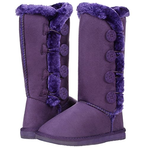 CLOVERLY Girls Kids Four Button Faux Fur Lined Shearling Mid Calf Winter Boots (3 Little Kid, Purple)
