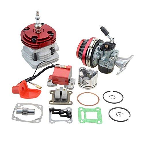 GOOFIT Carburador 19 Minimoto Chino con 44mm Cilindro Motor del Filtro de Aire para Decespugliatore 2 Tiempos 47cc 49cc Scooter Pit Bike ATV Mini Quad Rojo