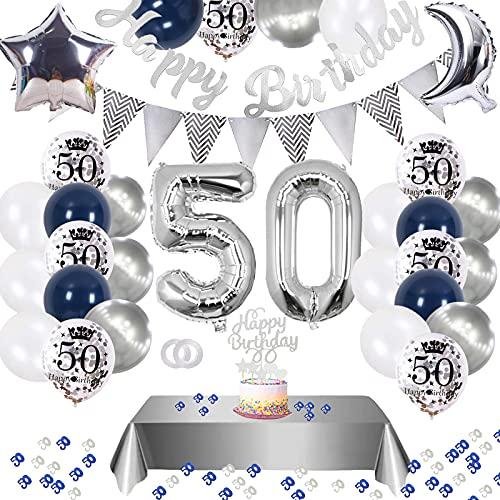 50. Geburtstag Dekoration,Silberblau 50 Geburtstag Dekorationen,Silber Konfetti Luftballons Number Folienballon 50 Luftballons Tischdecke Happy Birthday Girlande Banner Torten Deko für Männer Frauen