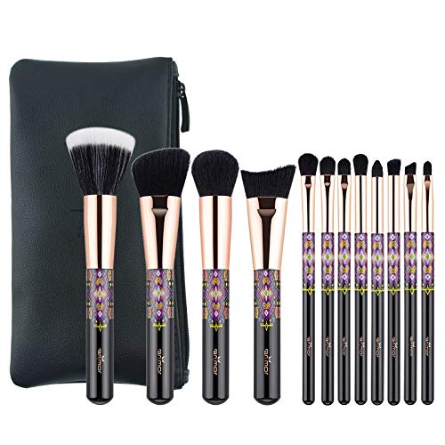 Best Quality - Makeup Brushes - Anmor Make Up Brushes Professional Powder Duo Fibre Eyeshadow Makeup Tool Synthetic Makeup Brushes Set With Black Bag - by Olwen Shop