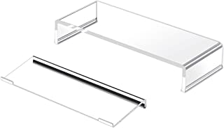 Niubee (Set of 2) Heavy Duty Acrylic Monitor Riser Stand, Clear Plastic Computer Stand for Home Office Shop, Desktop Riser...