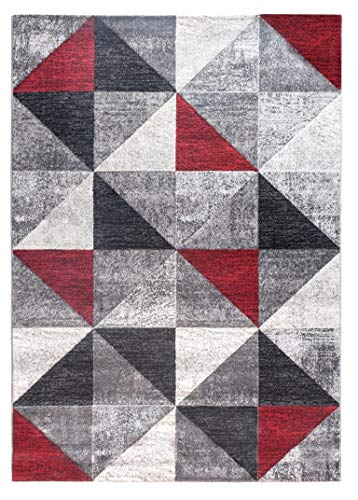 SrS Rugs Impulse Collection, Rug for Living Room, Bedroom, Hallway, Contemporary Abstract Geometric Triangle Design with 10mm Soft Pile. 8 Colours, 6 Sizes (Red, 160cm x 220cm)