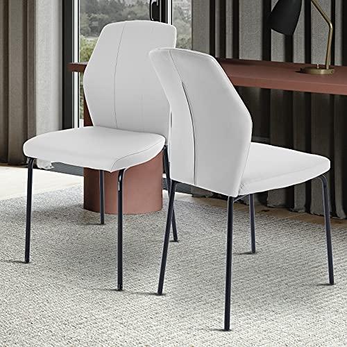 Moderna silla de escritorio de comedor para el hogar y la oficina, lavable de piel sintética con cojín acolchado y patas de metal para salón o dormitorio (blanco)