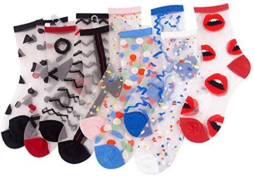 ANDIBEIQI - 10 pares de calcetines de mujer de algodón transparente, de verano, elásticos, ultrafinos, de encaje, tobilleras cortas, con plantilla de algodón antideslizante y punta reforzada Mixcolor-