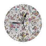 丸い壁時計サイレント非カチカチ時計、ギフトホームオフィスキッチン保育園の装飾に使用stay True Alchemyhome